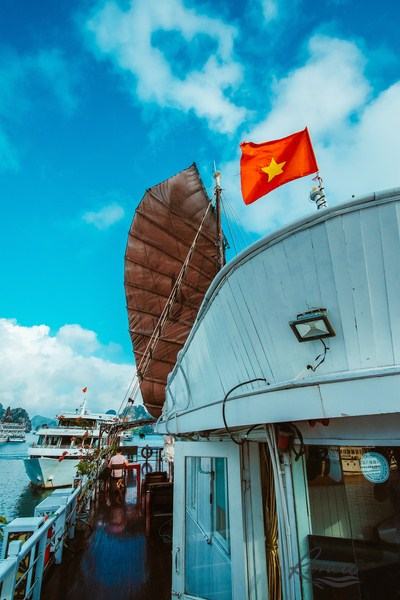 Vietnamese flag on boat